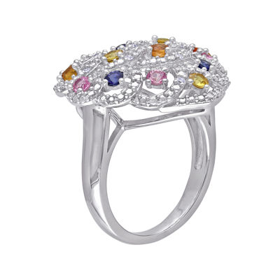 Multicolor Genuine Sapphire and Diamond-Accent Ring
