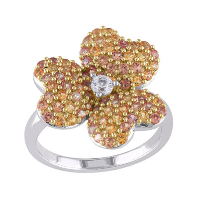 Lab-Created Yellow and White Sapphire Heart-Shaped Flower Ring