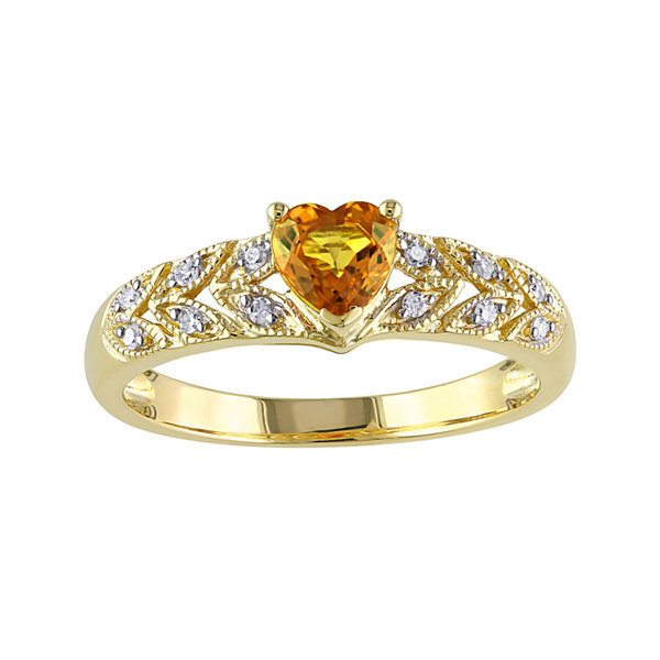 Heart-Shaped Genuine Yellow Sapphire and Diamond-Accent Ring