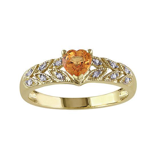 Heart Shaped Genuine Orange Sapphire And Diamond Accent Ring