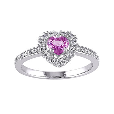 Heart-Shaped Genuine Pink Sapphire and 1/10 CT. T.W. Diamond Ring