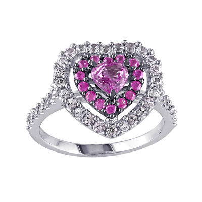 Genuine Pink and White Sapphire 14K White Gold Heart Ring