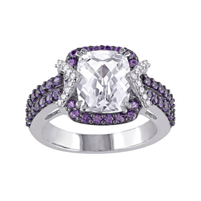 1/10 CT. T.W. Diamond and Multi-Gemstone Halo Ring