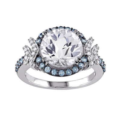 1/8 CT. T.W. Diamond and Multi-Gemstone Halo Ring