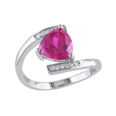 Lab-Created Ruby and Diamond-Accent Sterling Silver Bypass Ring