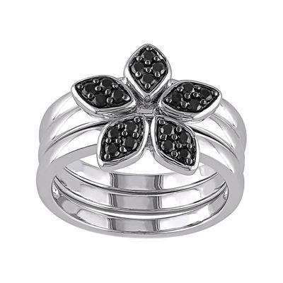 Genuine Black Spinel 3-pc. Sterling Silver Ring Set