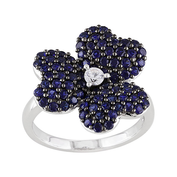 Lab-Created Blue and White Sapphire Heart-Shaped Flower Ring