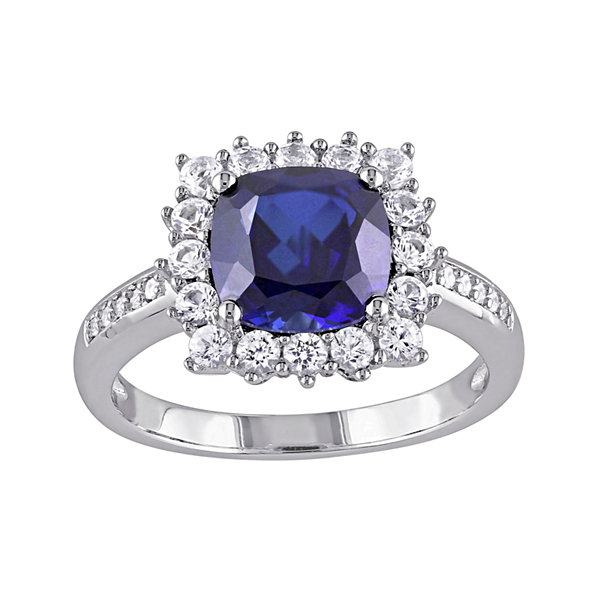 Lab-Created Blue Sapphire and Diamond-Accent Sterling Silver Ring