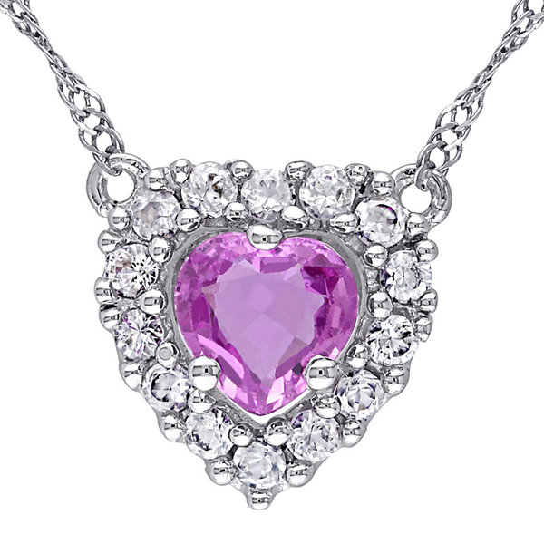 Heart-Shaped Genuine Pink Sapphire and White Sapphire Pendant Necklace