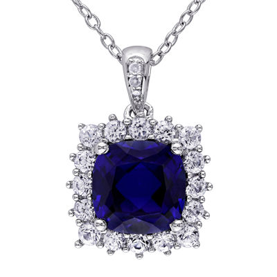 Lab-Created Blue and White Sapphire and Diamond-Accent Sterling Silver Pendant Necklace