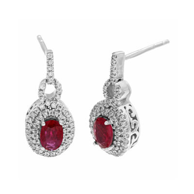 Lead Glass-Filled Ruby and 1/2 CT. T.W. Diamond 10K White Gold Drop Earrings