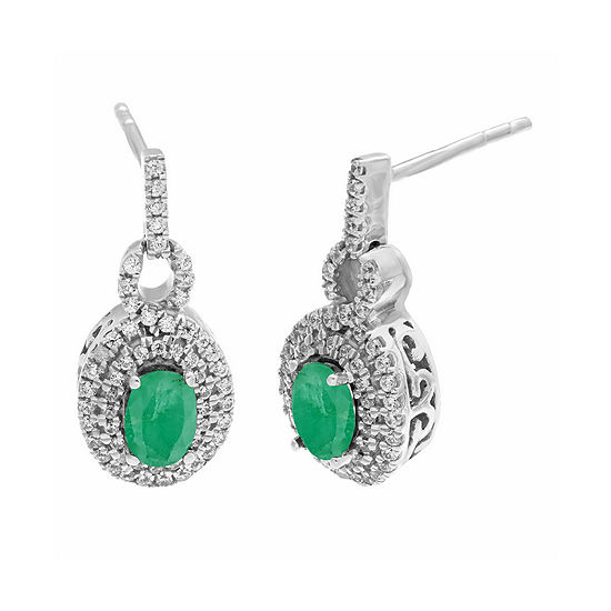 Genuine Emerald and 1/2 CT. T.W. Diamond 10K White Gold Oval Drop Earrings