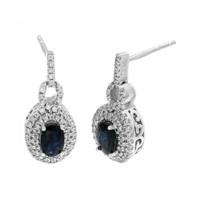 Genuine Sapphire and 1/2 CT. T.W. Diamond 10K White Gold Drop Earrings