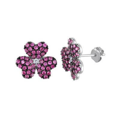 Lab-Created Pink and White Sapphire Heart-Shaped Flower Earrings