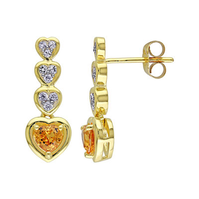 Genuine Yellow and White Sapphire Heart-Shaped Drop Earrings