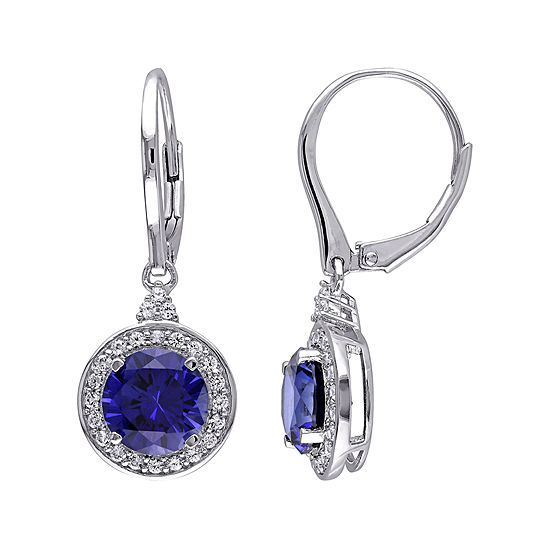 Lab-Created Blue and White Sapphire Sterling Silver Leverback Earrings