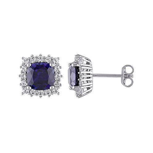 Lab-Created Blue and White Sapphire Sterling Silver Stud Earrings