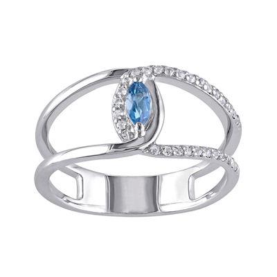 Genuine Blue and White Topaz Split Band Ring