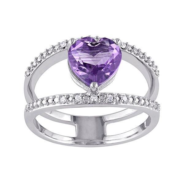 Heart-Shaped Genuine Amethyst and Diamond-Accent Split Band Ring