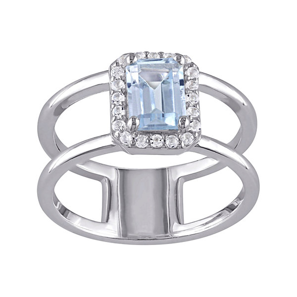 Genuine Sky Blue Topaz and Diamond-Accent Split-Band Ring