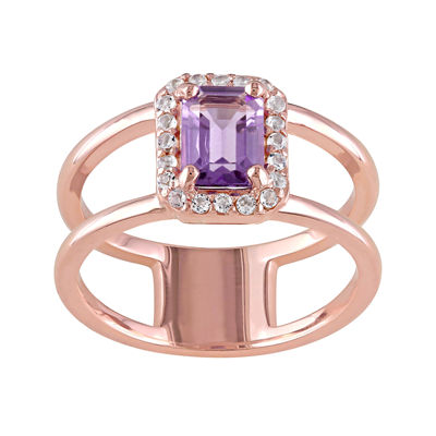 Genuine Amethyst and White Topaz Cutout Ring