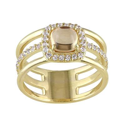 Genuine Citrine and White Topaz Split-Band Ring