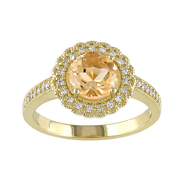 Genuine Citrine and 1/7 CT. T.W. Diamond Ring