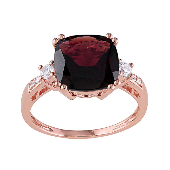 Genuine Garnet, Lab-Created White Sapphire and Diamond-Accent Ring