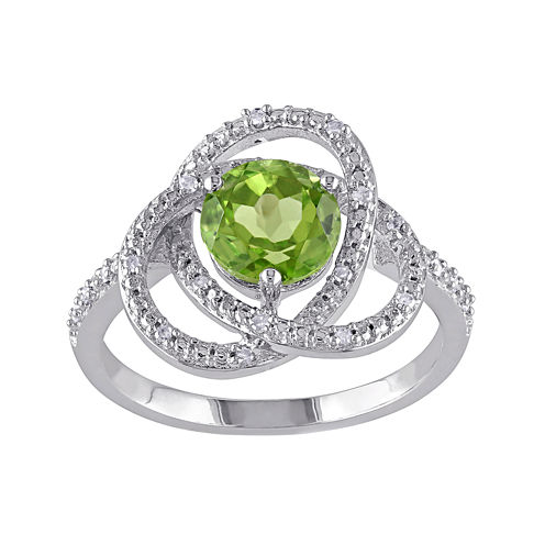 Genuine Peridot and 1/10 CT. T.W. Diamond Ring