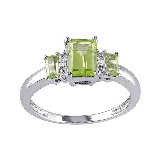 Genuine Peridot and Diamond-Accent 3-Stone Ring
