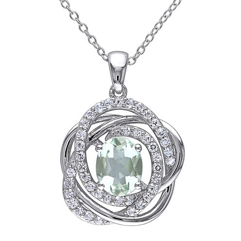 Genuine Green Amethyst and White Topaz Pendant Necklace