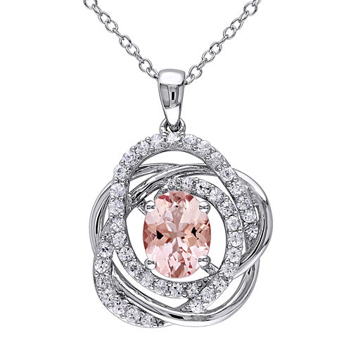Genuine Pink Morganite and White Sapphire Sterling Silver Pendant Necklace