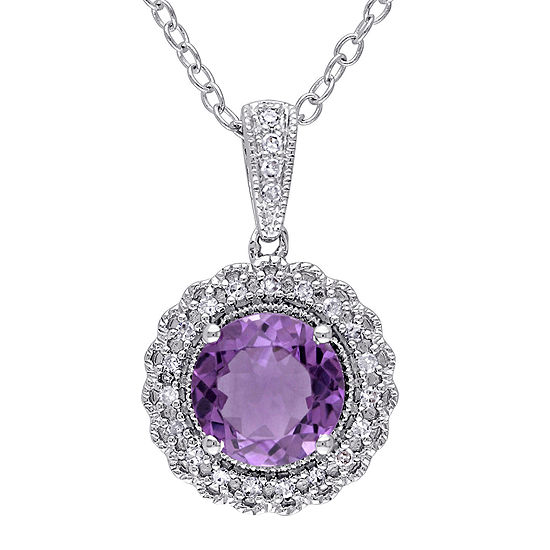 Genuine Amethyst And 1 10 Ct Tw Diamond Pendant Necklace