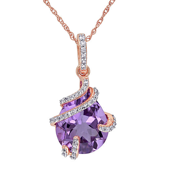 Genuine Amethyst and 1/8 CT. T.W. Diamond Pendant Necklace