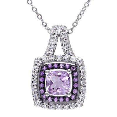 Genuine Rose de France, Amethyst and Lab-Created White Sapphire Pendant Necklace