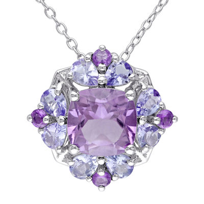 Genuine Amethyst and Tanzanite Sterling Silver Pendant Necklace