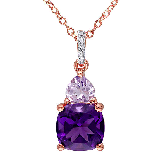 Genuine Amethyst, Rose de France and Diamond-Accent Rose Gold Over Silver Pendant Necklace