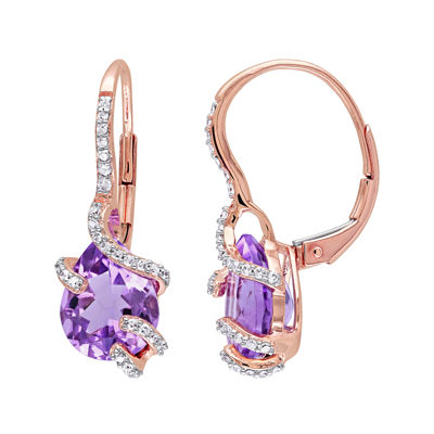 Genuine Amethyst and 1/5 CT. T.W. Diamond Earrings