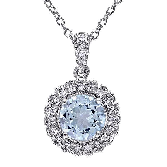 Genuine Sky Blue Topaz And 1 10 Ct Tw Diamond Pendant Necklace