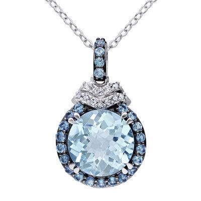 Genuine Blue Topaz and Diamond-Accent Drop Pendant Necklace