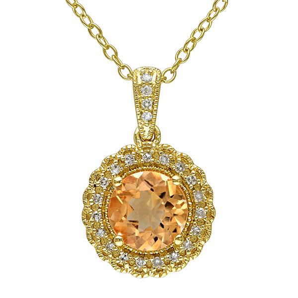 Genuine Citrine and 1/10 CT. T.W. Diamond Pendant Necklace