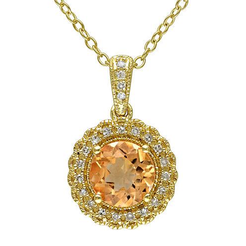Genuine Citrine and 1/10 CT. T.W. Diamond Pendant Necklace