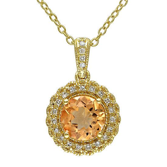 Genuine Citrine And 1 10 Ct Tw Diamond Pendant Necklace