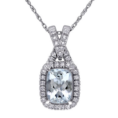 Genuine Aquamarine and 1/7 CT. T.W. Diamond Pendant Necklace