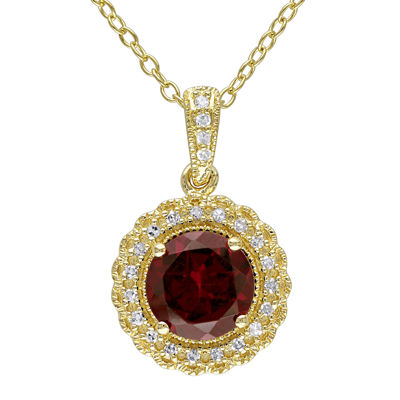 Genuine Garnet and 1/10 CT. T.W. Diamond Pendant Necklace