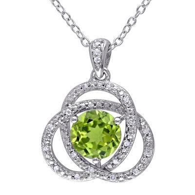 Genuine Peridot and 1/10 CT. T.W. Diamond Pendant Necklace