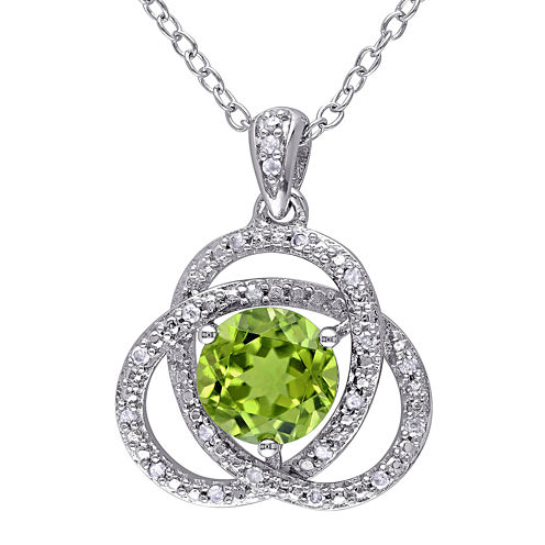 Genuine Peridot and 1/10 CT. T.W. Diamond Pendant Necklace