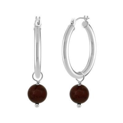Genuine Garnet Sterling Silver Hoop Earrings