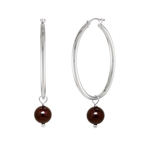 Genuine Garnet Bead 39mm Sterling Silver Hoop Earrings
