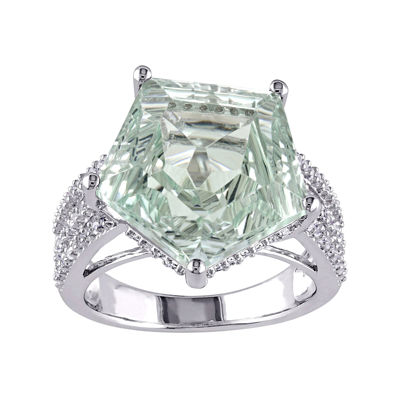 Genuine Green Amethyst and White Topaz Sterling Silver Ring